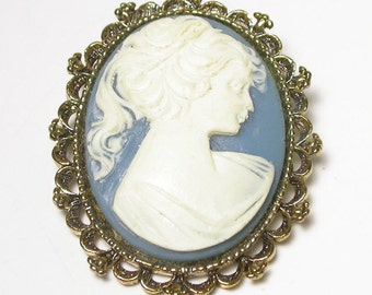 Vintage Blue Cameo Brooch and Pendant - Gold Tone - Costume # 1318