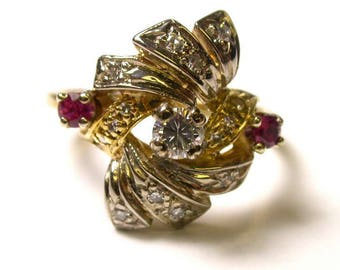 14k Yellow Gold Ruby and Diamond Ring - Size 6.5 - Weight 5.1 Grams # 570