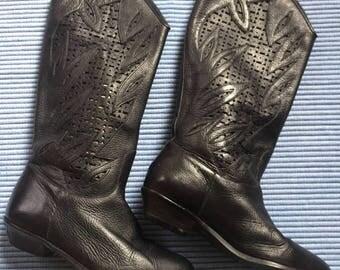 CUT OUT Geometric Shapes Black Leather Vtg Boots 7M