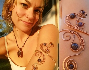 Amethyst & Copper Wire wrapped Arm Band
