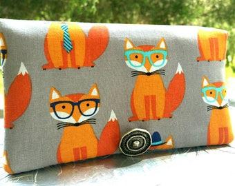 Women's Wallet, Gray Foxy Wallet, Wallet Clutch