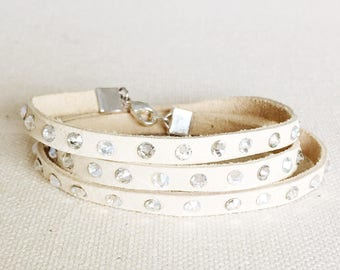 The Crystal Wrap Bracelet // Leather // Swarovski Crystals // Boho Chic // Jewelry // Accessories