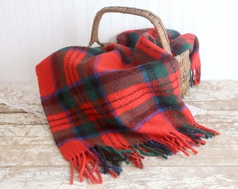 Vintage Wool Stadium Blanket, Red Plaid Blanket, Peebler Pleasure Wool Blanket, Made in Scotland