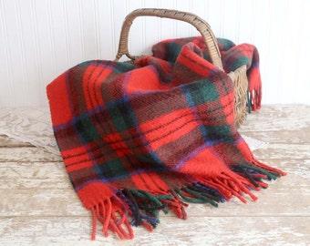 Vintage Wool Stadium Blanket, Red Plaid Blanket, Peebler Pleasure Wool Blanket, Made in Scotland