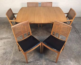 Mid-Century Modern Dining Table W/6-Chairs, 1-Leaf & Table Pads By Davis Cabinet Company - SHIPPING NOT INCLUDED