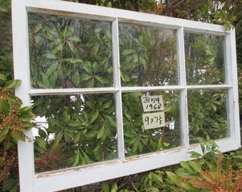 32 x 19 Vintage Window sash frame old 6 pane  from 1968
