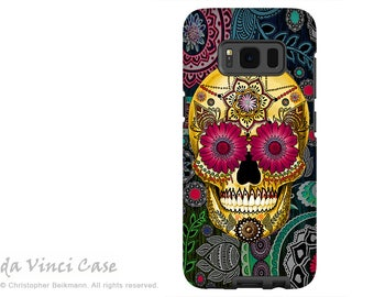 Samsung Galaxy S8 PLUS Case - Day of the Dead Galaxy S 8 PLUS Case with Colorful Paisley Sugar Skull Art - Dual Layer Calavera Case