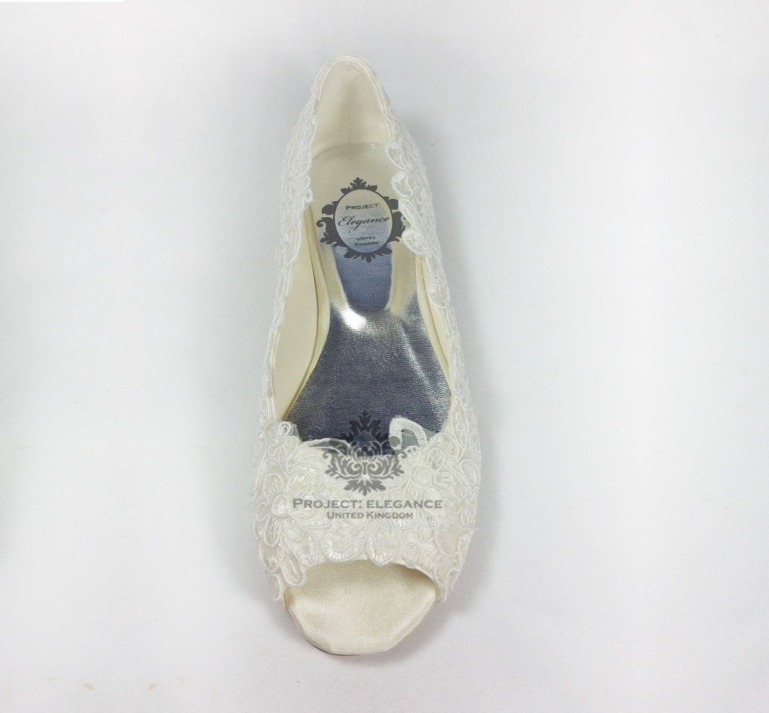 Ivory Lace Ballerinas Open Peep Toed Flat Shoes Wedding Bridal Ballet Vintage Bridesmaid