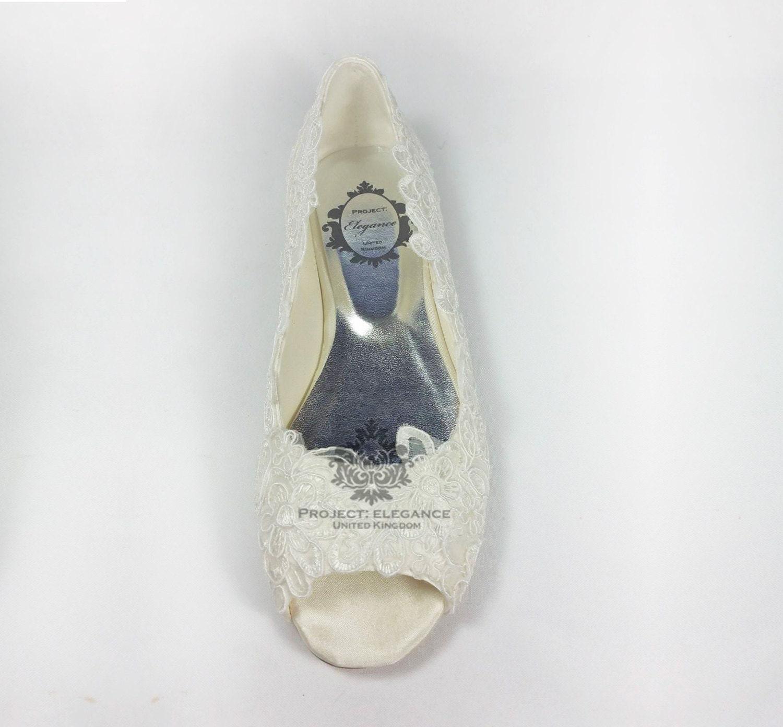 Ivory Lace Ballerinas Open Peep Toed Flat Shoes Wedding Bridal Ballet Vintage Bridesmaid