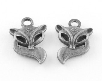 Fox Charms Fox Pendants Antiqued Silver Fox Charm Forest Animal Charms Woodland Charms Animal Charms Wholesale Charms Bulk Charms 50pcs
