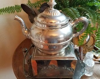 Beautiful Victorian Edwardian Antique Silver Teapot with oil Warmer