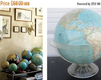 "ON SALE 1961, National Geographic, World Globe, 12"", Vintage, Lucite Cradle/Stand, Map, Blue, Collectibles, Melville Bell Grosvenor Edition"