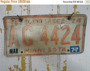 ON SALE 1974, Minnesota, License Plate, 10,000 Lakes, Orange, Auto, Supplies, Destash, Odds and Ends, Art, Craft Projects, Steel, Vintage