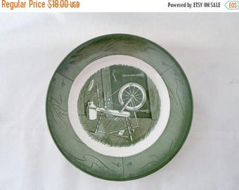 ON SALE Vintage, Bread and Butter, Plate, Colonial Homestead, Green & White, Set of 4, Royal, USA, Cottage Chic, Serving