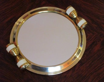 French Art Deco Mirror Tray with Faux Bone Handles - Art Deco Serving Tray - Practical Beautiful Elegant - Amazing Condition
