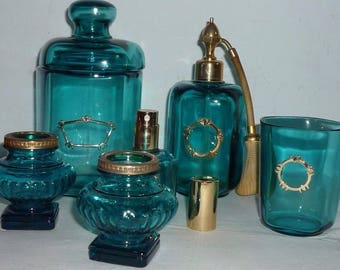 6 Piece French Vintage Aqua Crystal Glass Perfume Vanity Set-Signed Marcel Franck-FANTASTIC COLOR and DESIGN-Great Condition-Treat Yourself!