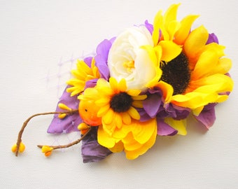yellow purple sunflowers bridal hair comb, purple weddings hair accessories, country farm rustic wedding, purple yellow white bridal flowers