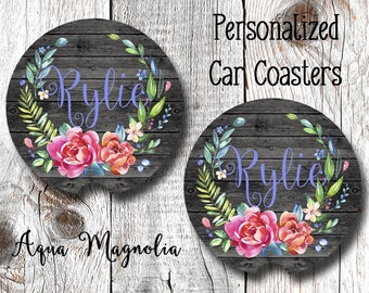 Floral Wreath - Weathered Wood - Personalized - Car Coasters - Shabby Chic - Car Accessory - Monogrammed