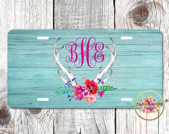 Watercolor Peony Floral Deer Antlers - Aqua Weathered Wood - Personalized - License Plate - Aluminum - Monogrammed - Car Tag