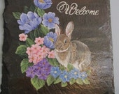 HANDPAINTED ROOF SLATE  Welcome sign brown rabbit with spring flowers