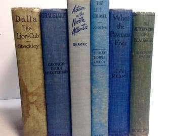 Vintage Antique Blue Book Decor Collection, Photoplay, Old Hollywood Books, Book Set, Blue Books