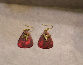 Gold Plated Humminghbirds/ Guitar Pick Earrings / Hypo Allergenic Gold Plated Hooks.