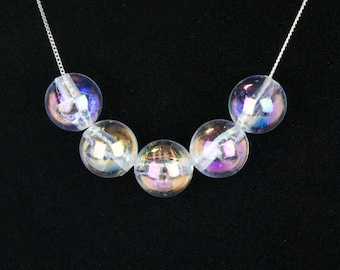 Bubble Necklace Silver Chain Holographic Beads Fun Gifts for Girls Whimsical Jewelry EXTRA EARRINGS