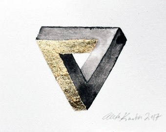 Penrose Triangle / Ink Painting with Gold Leaf / Small Artwork Original Painting / ACEO