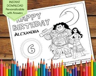 Moana Party Favors, Moana Coloring Pages, Moana Party Games, Moana Birthday Favors, Moana Party Activity Book, Moana Coloring Sheet