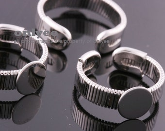 10PCS-6mm Bright Rhodium Plated Brass Free Size Adjustable RING 8mm Blank Base For Deco pad Ring (E368S)