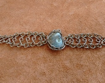 Opalized ammonite wire wrapped bracelet, handmade copper ammolite wire wrapped bracelet, opalized fossil bracelet, opal ammonite, gypsy