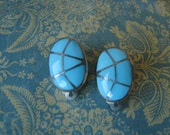 Vintage Sterling Turquoise Inlay Zuni Clip On Earrings Southwestern Jewelry Cowgirl Earrings