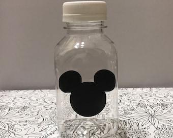 12- Mickey Mouse 8 oz or 22 oz Vinyl Plastice Milk Bottles with Lids