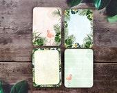 Printable project life journal cards.  Pocket cards, digital scrapbooking. Digital stationery. Tropical. Flamingos