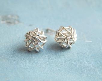 Silver Stud Earrings - Sterling Silver Knot Stud Earrings - Silver Earrings - Minimalist Earrings, Birthday Gifts -