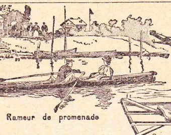 Antique French Print Dictionary Page 1920s Illustrations Rowing Sculling Boating Oar Cox Book Page