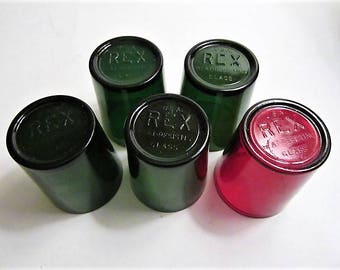 "pyrex ""REX"" chemistry test containers set of 5 for one deal ruby red glass forest green glass container"