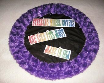 Fuzzy soft purple rosebud swirls steering wheel cover
