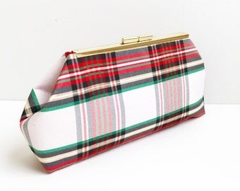 Plaid Taffeta Clutch