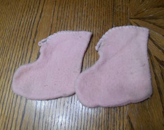 One pair Very Old pink flannel booties