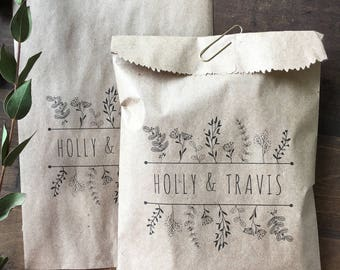 Wildflower Favor Bags, Custom Wedding Favors, Recycled Brown Paper & Personalized for You, set of 25