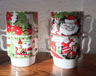 Vintage Christmas Stacking Mugs Set of 4