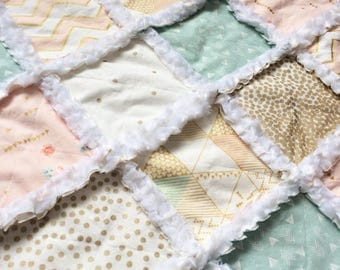 Pretty pastel pink, gold, white, aqua minky baby girl rag quilt metallic gold with arrows chevron birds and florals