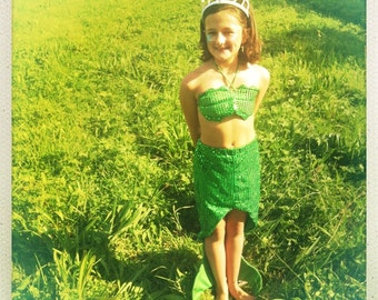 Kids mermaid tail costume - GREEN - 5 sizes - fairylove
