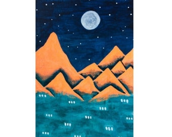 Funky Mountains No. 12 - original acrylic painting on paper, orange teal mountain decor, surreal mountain painting, winter landscape