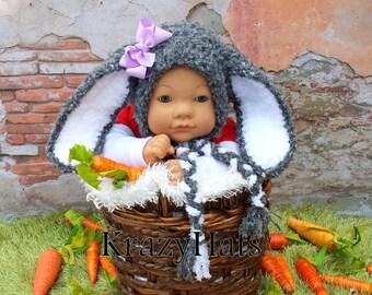 Crochet Bunny Rabbit hat.Crochet gray bunny hat.Ready to ship.size:6m.old