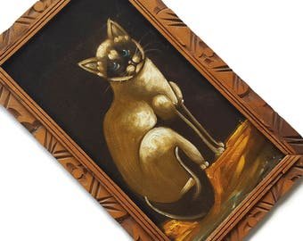 Vintage Black Velvet Painting Siamese Cat Lover Portrait Kitten Kitsch Kitschy Wood Frame Mexico Retro 70s Man Cave Girls Room Elvis Cookie