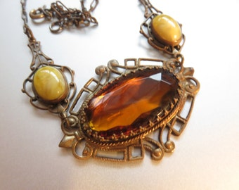 Vintage Arts and Crafts Amber Glass Necklace, Swirl Glass Beads
