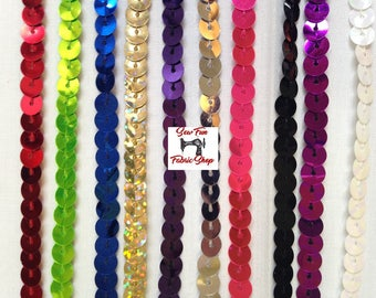 Single Sequin Trim.  5 yard increments.  Great for costumes, dance, theater, pageant, crafts, home decor.
