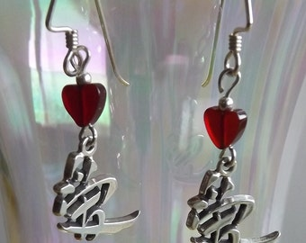 Love Earrings For Valentine's Day Sterling Silver Chinese Symbol With Carnelian Hearts